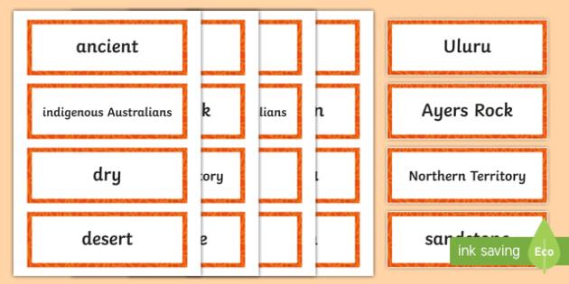 Uluru Word Cards-Australia