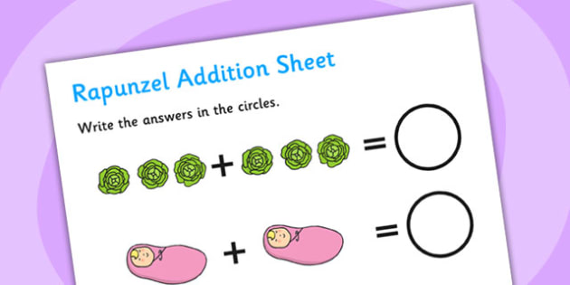 Rapunzel Addition Sheet - rapunzel, addition, sheet, numeracy, rapunzel addition, rapunzel worksheet, addition worksheet, maths worksheet, adding