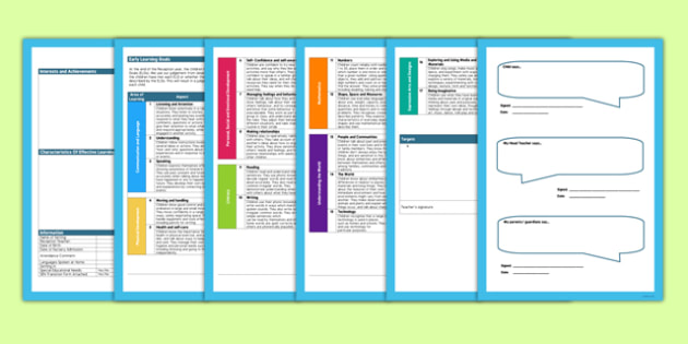 EYFS Editable Reception Report Template - reception, report