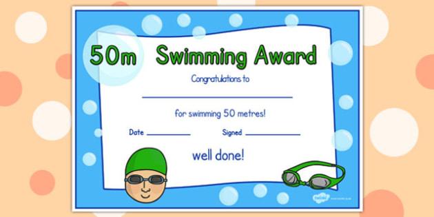 50m Swimming Certificate - swimming, certificate, 50m, awards
