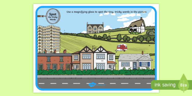 Phase 2 Tricky Words Houses and Homes Scene Magnifying Glass Poster