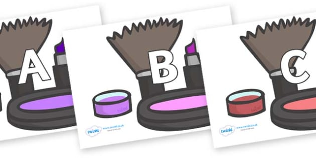 A-Z Alphabet on Make Up - A-Z, A4, display, Alphabet frieze, Display letters, Letter posters, A-Z letters, Alphabet flashcards