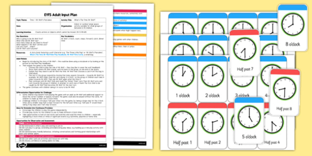 EYFS Adult Input Plan and Resource Pack to Support Teaching on What's The Time, Mr Wolf? - EYFS, Early Years planning, adult led, wolf, fairytale, Pancake Day, Shrove Tuesday, o'clock, playtime