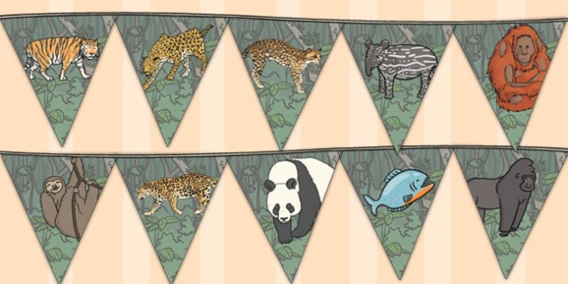 Jungle Themed Display Bunting - jungle themed, display bunting, jungle display bunting, jungle themed display bunting, jungle themed bunting