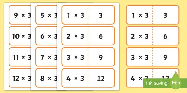 3 Times Table Cards - times table, times tables, cards, 3, fold, activity