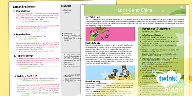 Geography: Let's Go to China Year 2 Planning Overview