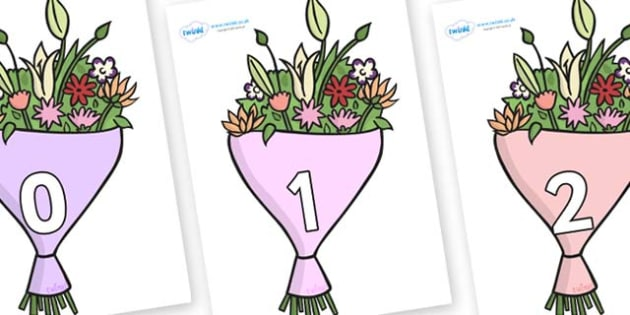 Numbers 0-50 on Bouquets - 0-50, foundation stage numeracy, Number recognition, Number flashcards, counting, number frieze, Display numbers, number posters