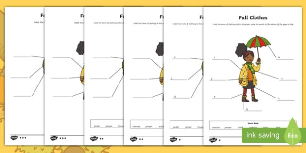 Fall Clothes Labeling Differentiated Activity Sheet Pack, worksheet