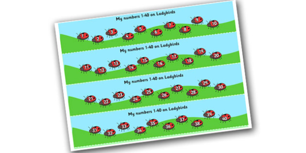 1-40 on Ladybirds Number Strips - Maths, Math, number track, ladybird, Numberline, Number line, Counting on, Counting back, counting, minibeasts, ladybird