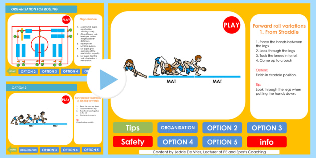 PE Rolling 6 7 8 Years Lesson Ideas PowerPoint To Crouching - rolling, lesson ideas, lesson plans, powerpoint, lesson plan powerpoint, ideas powerpoint