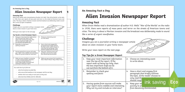Invasion Newspaper Report Writing Template