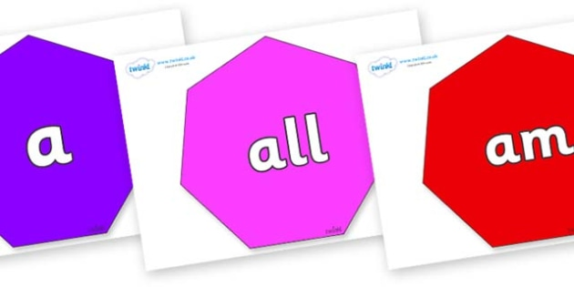 Foundation Stage 2 Keywords on Heptagons - FS2, CLL, keywords, Communication language and literacy,  Display, Key words, high frequency words, foundation stage literacy, DfES Letters and Sounds, Letters and Sounds, spelling