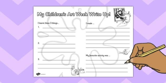 Children's Art Week Write Up Worksheet - art week, children, art
