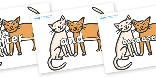 Connectives on Cats - Connectives, VCOP, connective resources, connectives display words, connective displays