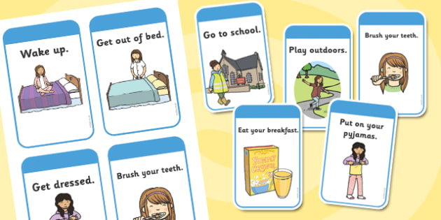 Daily Routine Cards (Girls) - Visual Timetable, Sen, Daily
