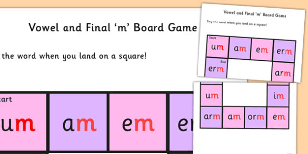 Vowel and Final 'M' Board Game - final m, sound, board game