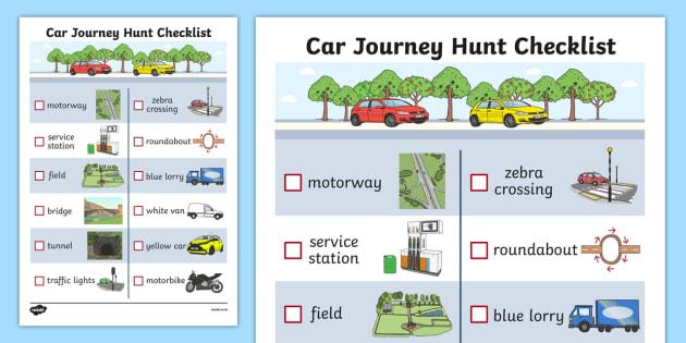 Car Journey Hunt Checklist - car journey, hunt, checklist, check, list