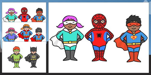 Cute Superhero Character Cut Outs - superhero, character, cut out