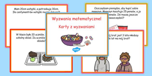 Karty z wyzwaniami Odejmowanie po polsku - matematyka