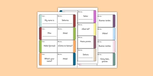 Spanish Meet and Greet Loop Cards - spanish, meet and greet, meet, greet, loop cards, loop, cards