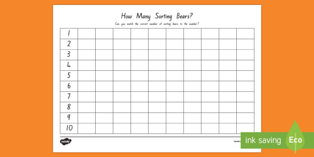 Sorting Bears Number Activity Sheet - New Zealand Back to School, compare bears, numbers, grids, counting, visual, maths, language, numera