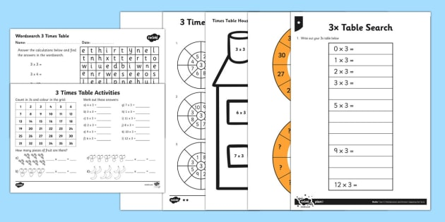 3 Times Tables - 3 times tables, maths, numeracy, ks1, times