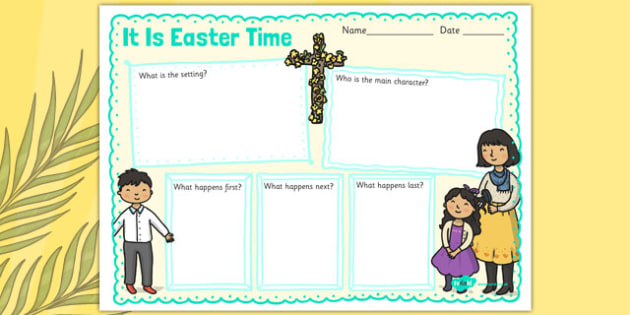 It Is Easter Time Story Review Writing Frame - it is easter time, story, story review, writing frame, easter