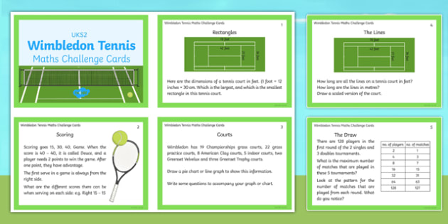UKS2 Wimbledon Maths Challenge Cards