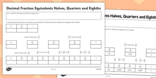 Year 6 Decimal Equivalents Halves Quarters and Eighths Activity Sheet - Key Stage 2, KS2, Maths, Decimals, worksheet