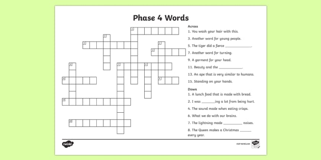 Phase 4 Crossword - phase 4 crossword puzzle, phase 4 crossword worksheet, crossword, phase 4 words, phase 4 word activity, word puzzle, literacy, english