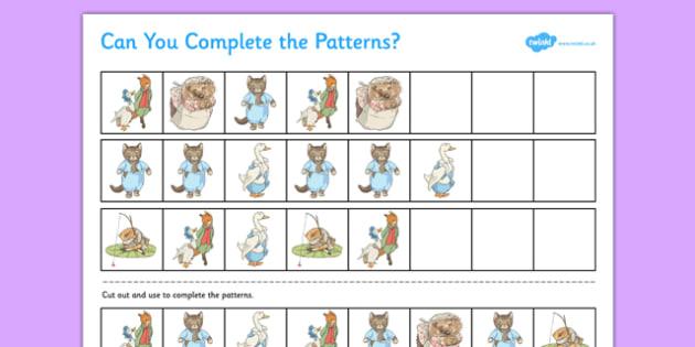 Beatrix Potter Complete the Pattern Worksheet - beatrix potter, author, complete, pattern, worksheet