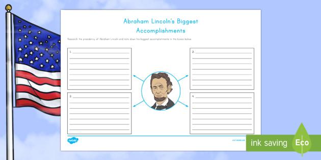 Abraham Lincoln's  Biggest Accomplishments Writing Activity Sheet - American Presidents, American History, Social Studies, Barack Obama, Lyndon B. Johnson, Franklin D.