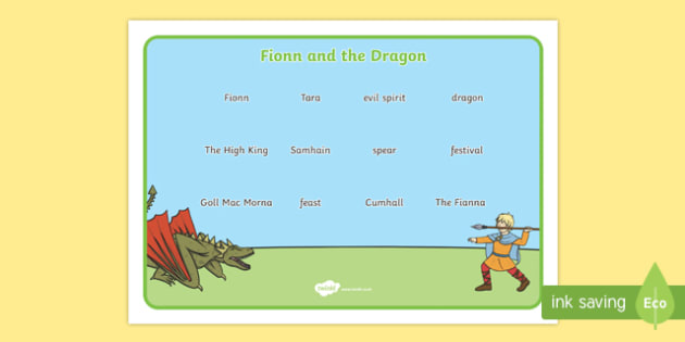 Fionn and the Dragon Vocabulary Mat - Irish history, Irish story, Irish myth, Irish legends, Fionn and the Dragon, vocabulary mat, vocabulary, words