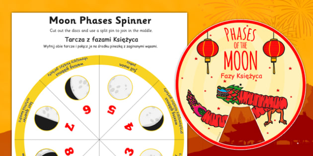 Chinese New Year Themed Phases of the Moon Visual Aid Polish Translation - polish, chinese new year, phases, moon, visual aid