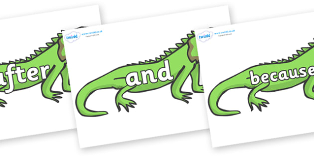 Connectives on Iguanas - Connectives, VCOP, connective resources, connectives display words, connective displays