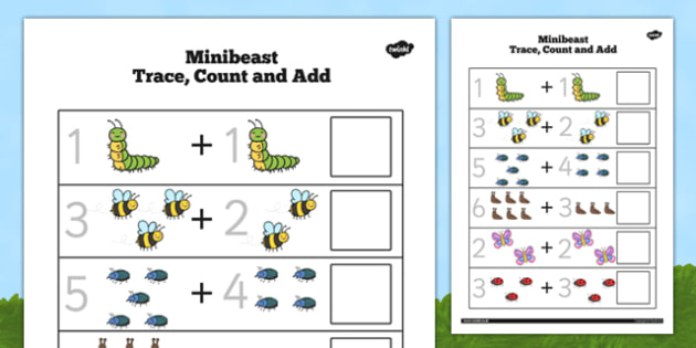Minibeast Trace Count and Add Worksheet - minibeast, trace, count