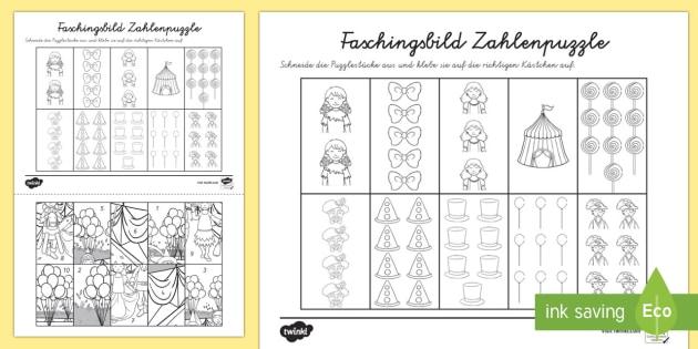 Faschingsbild- Zahlen bis 10 Arbeitsblatt: Erstes Zählen - Karneval, Fasching, Fastnacht, Puzzle, Mathepuzzle, Bildpuzzle, Anmalbilder, Erstes zählen, Zahlen