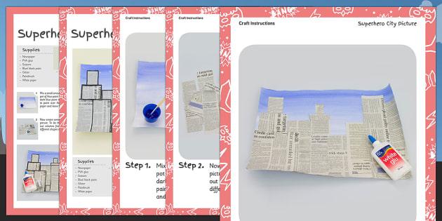 Superhero City Picture Craft Instructions - superhero, craft
