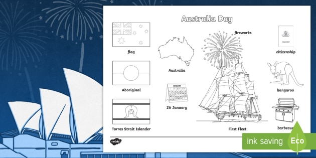 Australia Day Words Colouring Sheet - colour, celebrations, word