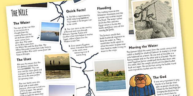 The Ancient Egyptians The River Nile Information Print Out