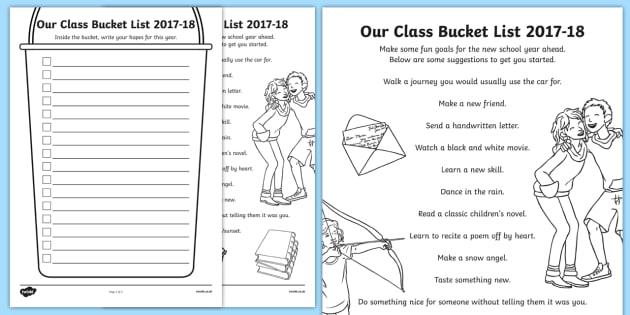 Our Class Bucket List 2016-17 Activity Sheet-Scottish, worksheet