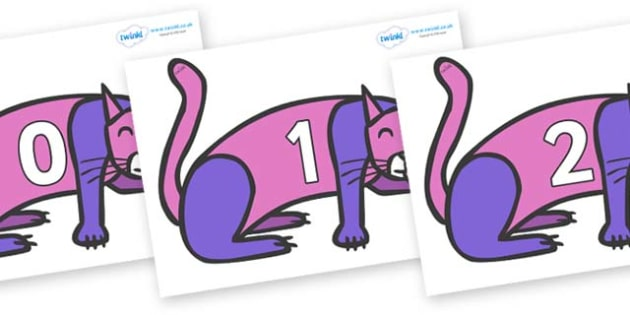 Numbers 0-50 on Purple Cat to Support Teaching on Brown Bear, Brown Bear - 0-50, foundation stage numeracy, Number recognition, Number flashcards, counting, number frieze, Display numbers, number posters