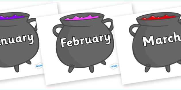 Months of the Year on Cauldron - Months of the Year, Months poster, Months display, display, poster, frieze, Months, month, January, February, March, April, May, June, July, August, September