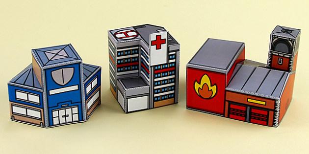 People Who Help Us 3D Buildings Printable - people who help us, 3d buildings, 3d, buildings, paper model, paper craft, paper, model, craft