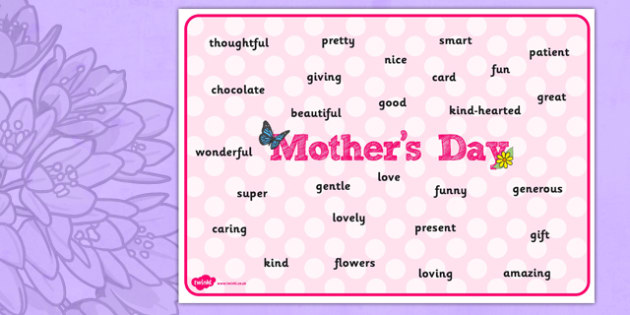 Australia Mother's Day Word Mat