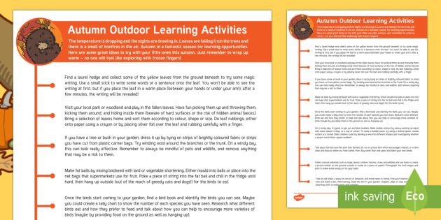 Autumn Outdoor Learning Activities Parent and Carer Information Sheet - Early Years, outdoor learning, autumn activities, autumn, seasons, weather, outside, craft, activiti