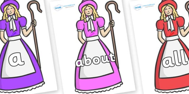 100 High Frequency Words on Little Bo Peep - High frequency words, hfw, DfES Letters and Sounds, Letters and Sounds, display words