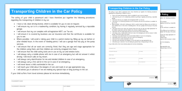 Transporting Children in the Car Policy for Childminders - minder