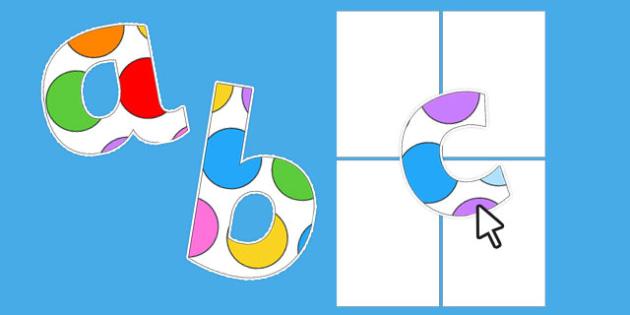 Editable Paper Saving Polka Dot Alphabet Numbers and Symbols