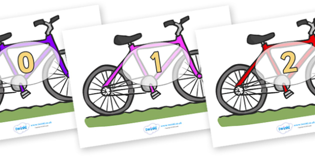 Numbers 0-50 on Bicycles - 0-50, foundation stage numeracy, Number recognition, Number flashcards, counting, number frieze, Display numbers, number posters